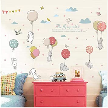 Cartoon Hot Air Balloon Wall Stickers Wallpaper DIY Vinyl Home Wall Decals Kids Living Room Bedroom Girls Room Decor