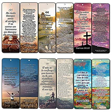 Spanish Bookmarks - Popular Inspirational Bible Verses (12-Pack)- Stocking Stuffers for