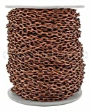 CleverDelights Cable Chain Spool - 30 Feet - Antique Copper Color - 4x6mm Link - 10 Meters - Bulk Roll