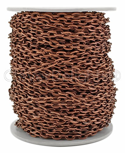 CleverDelights Cable Chain Spool - 100 Feet - Antique Copper Color - 4x6mm Link - Rolo Chain Bulk Roll from CleverDelights