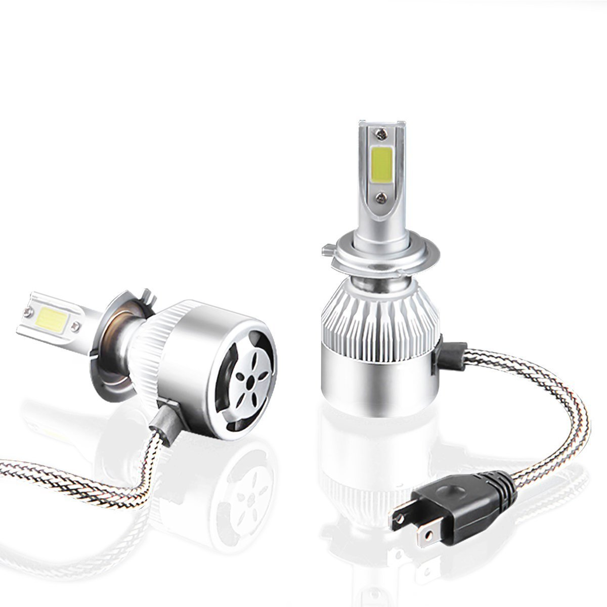 MTK 2x LED H7 Kits de Faros Delanteros de 72w / 7600Lm en total, de luz Blanca 6000K para Coches y Motos (H7) LEDH7