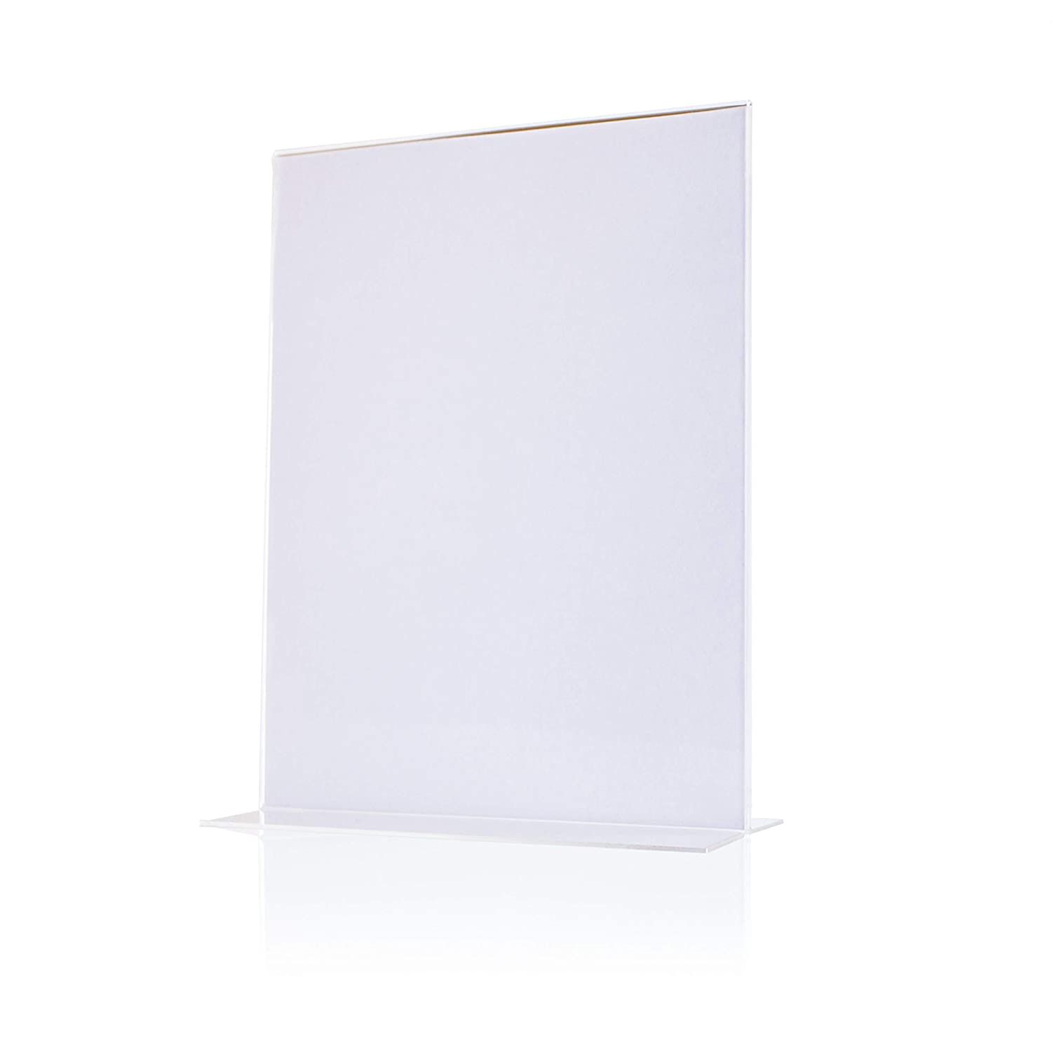 Menu 8.5 x 11 Set of 6 Photo T Shaped Double Sided Marketing Display Premium Quality Acrylic Sign Holder Durable