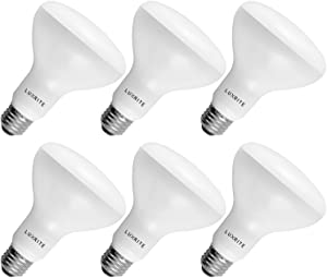 6-Pack BR30 LED Bulb, Luxrite, 65W Equivalent, 6500K Daylight White, Dimmable, 650 Lumens, LED Flood Light Bulbs, 9W, E26 Medium Base, Damp Rated, Indoor/Outdoor - Living Room, Kitchen, and Recessed
