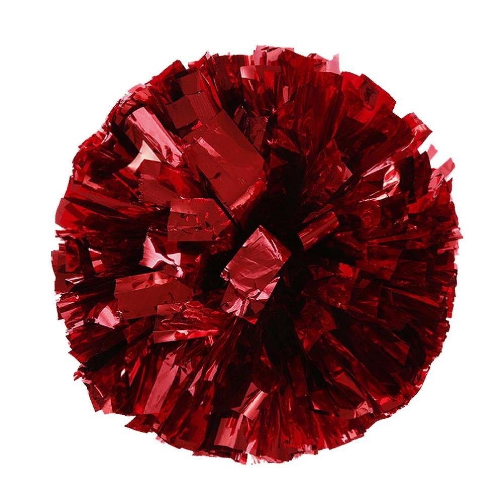 FTXJ Metallic Color Foil Cheerleader Pom Poms And Plastic Ring Cheerleading Sports Party Accessories Dance Ball (Hot Pink)