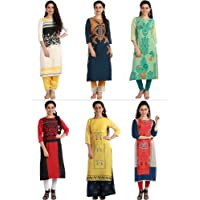 1 Stop Fashion Women's Multi-Coloured Crepe Knee Long W Style Kurtas Combo (Set Of 6)