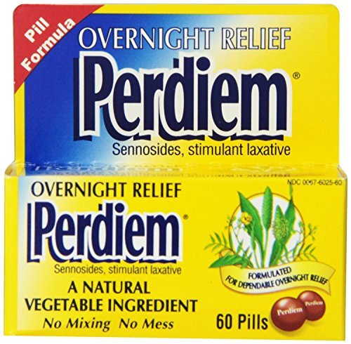 Perdiem Sennosides Stimulant Laxative Pills, Overnight Relief, 60-Count Bottles (Pack of 2) by Perdiem by Perdiem