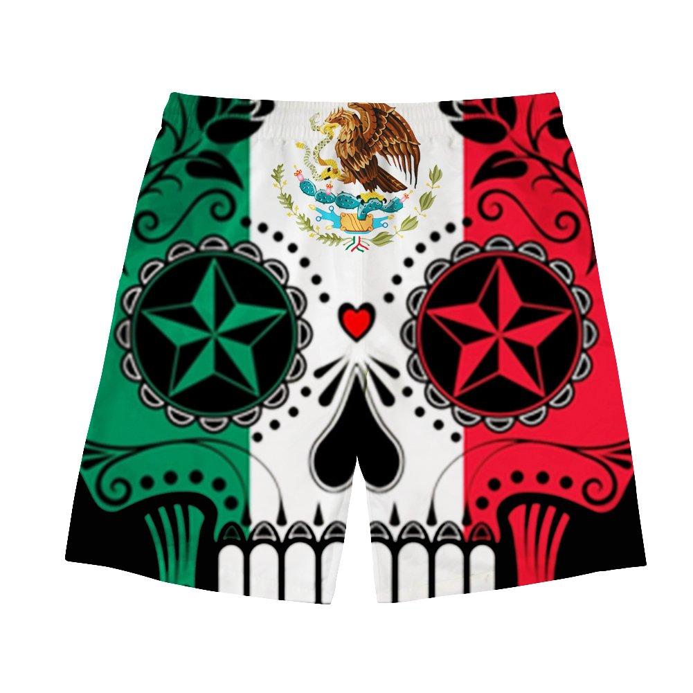 Boy Quick Dry Mexican Flag Sugar Skull Beach Shorts Swim Trunks Surf Board Shorts