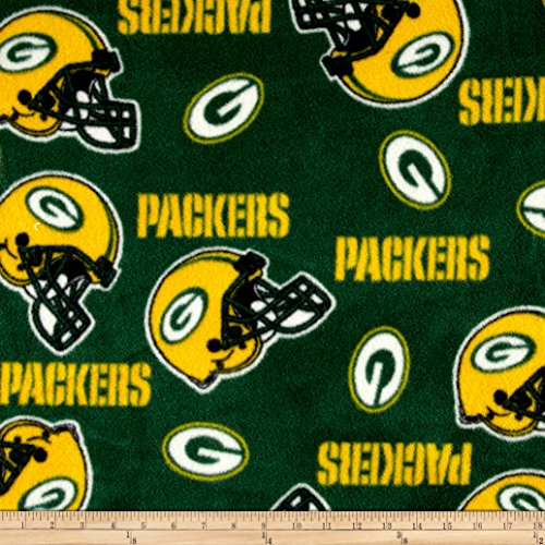 Fabric Traditions NFL Fleece Bay Packers Tossed Helmets Green/Yellow Fabric by The Yard