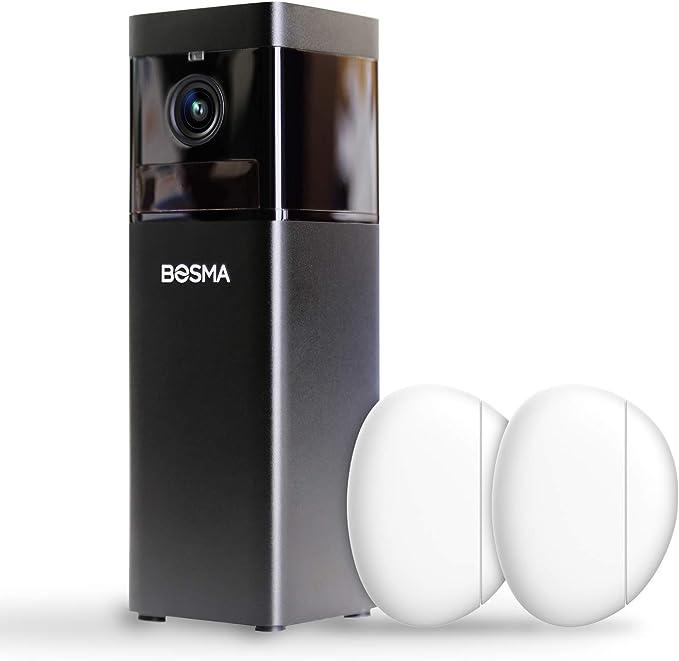 Bosma X1 Sicherheitskamera 1080p Hd Mit Farbiger Nachtsicht 2 Stück Türfenstersensoren 2 Wege Audio Automatischer Sirenenenalarm Erweiterte Bewegungserkennung Soundwarnungen Baumarkt