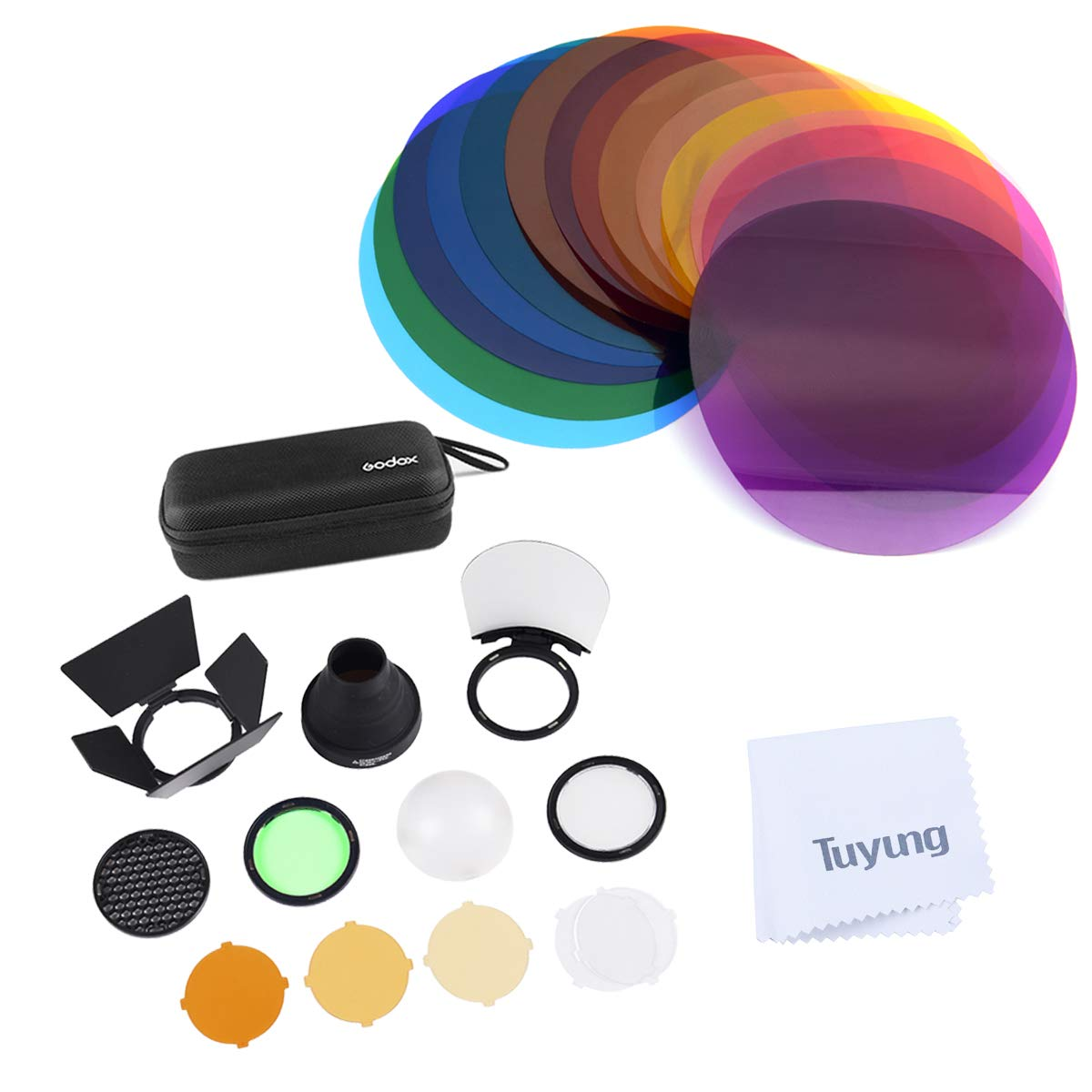 Godox V-11C Color Filters with godox AK-R1 Accessories Kit Set Compatible with Godox V1-C V1-N V1-S V1-O V1-F etc. Round Head Flash, use H200R Compatible with AD200 AD200PRO by Godox
