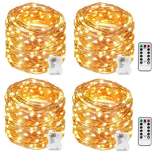 Kohree String Lights LED Copper Wire Fairy Christmas Light with Remote Control, 33FT 100LEDs, 4 Packs 8 Modes AA Battery Powered, Waterproof, Seasonal Decor Rope Lights for Holiday, Wedding