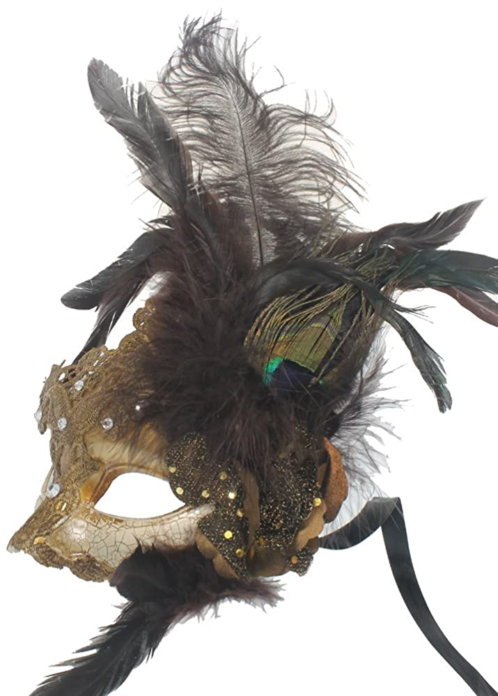 Masquerade Ball Clothing: Masks, Gowns, Tuxedos RedSkyTrader Womens Feathers and Lace Mask $30.90 AT vintagedancer.com