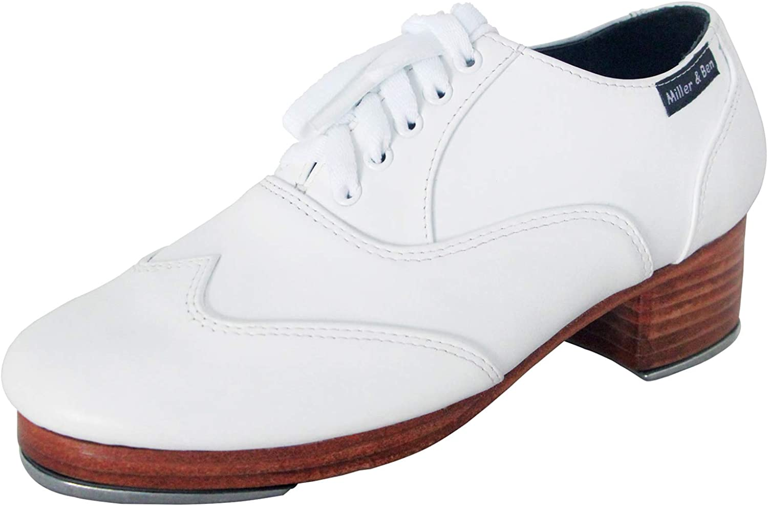 Miller & Ben Tap Shoes; Triple Threat; All White Professional Tap Shoes