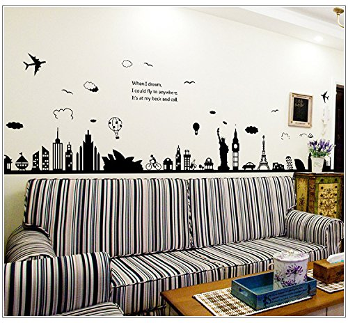 Copter Shop Fashion Eiffel Tower Sydney Greek city Building set DIY Wall Stickers Living Room Background Decor Mural Decal Wallpaper (Trike Canvas)