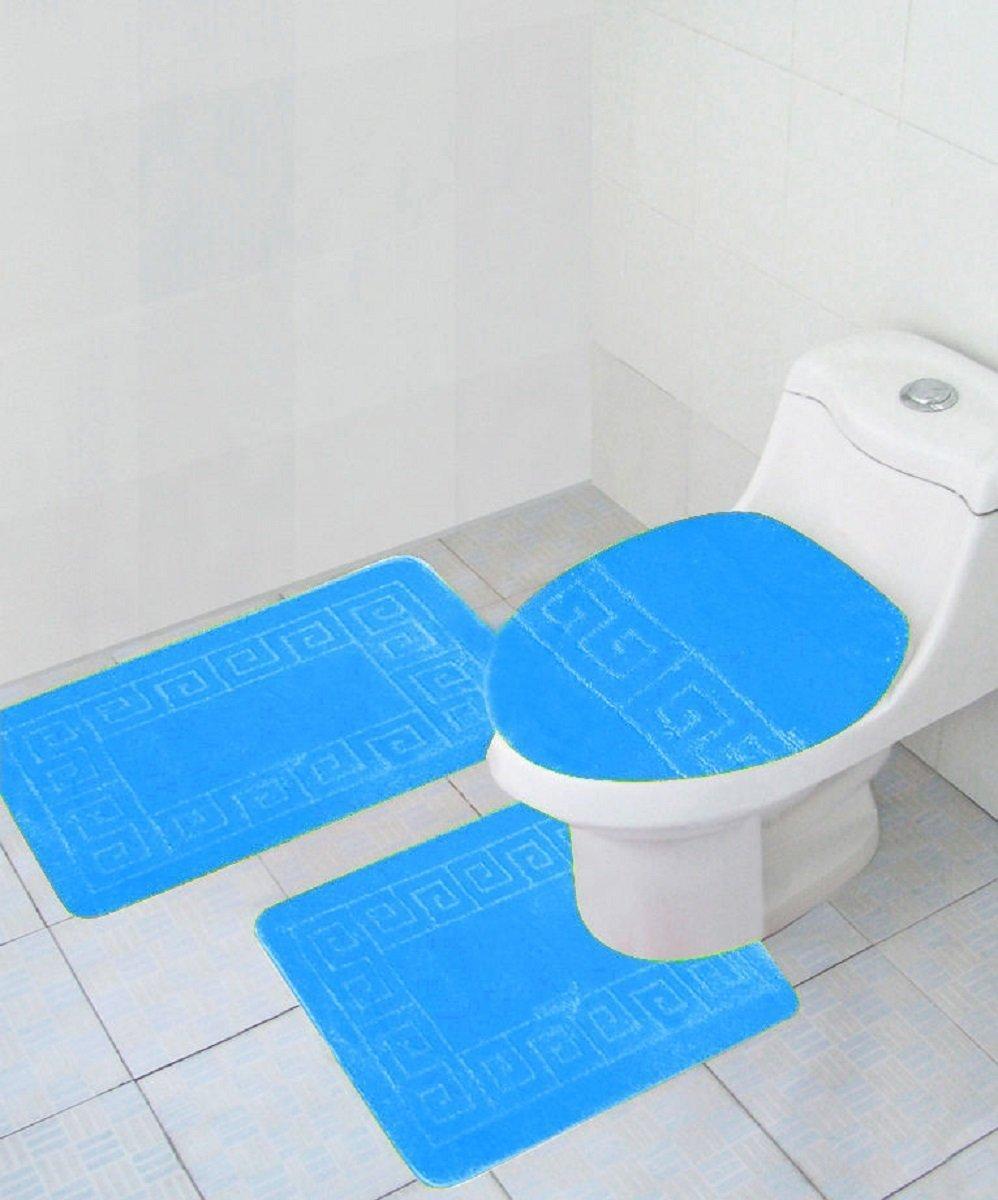 navy blue toilet seat cover. Amazon com  3 Piece Bath Rug Set Pattern Bathroom 20 x32 large Contour Mat x20 with Lid Cover Navy Home Kitchen