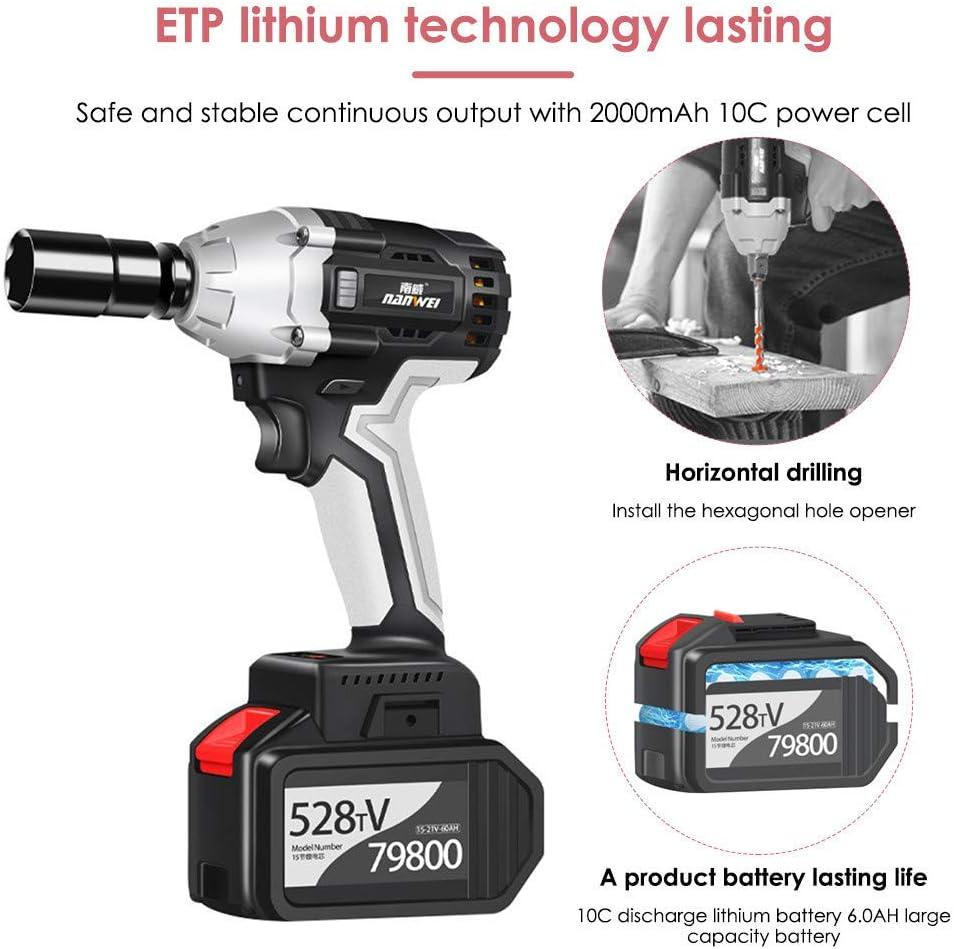 potente kit de llave de impacto de 1//2 pulgada Llave de impacto inal/ámbrica InLoveArts 450 Nm motor sin escobillas de 21 V par m/áximo bater/ía de 6,0 AH con cargador r/ápido