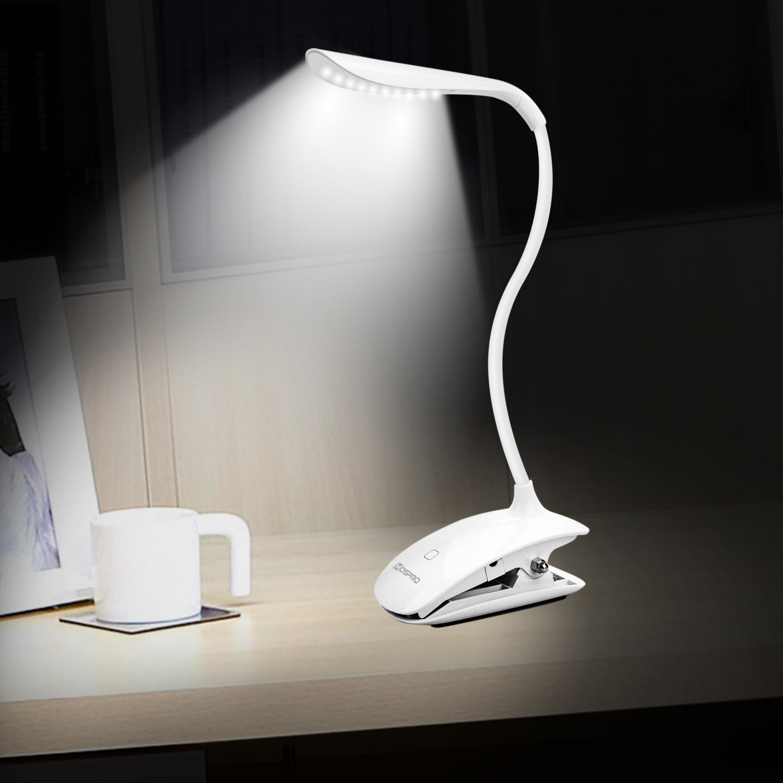 Lámpara LED de Mesa,LEVIN Escritorios Flexo Con Pinza, Cuidado de los Ojos Luz Lectura,Con USB Recargable para Habitación,Dormitorio,etc. (Blanco) IT-LDT-1