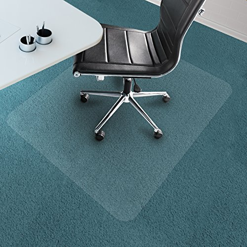Office Marshal Chair Mat for Carpet Floors, PVC, Low/Medium Pile - 40'' x 48'', Multiple Sizes - Clear, Studded, Rectangular Carpet Floor Protection Mat by Office Marshal