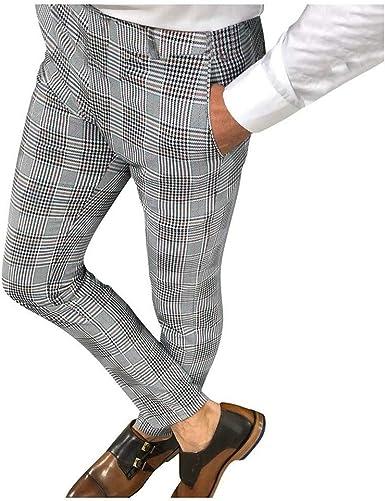 Tasty Life Pantalones De Sarga Sin Arrugas De Corte Recto Para Hombres Pantalones Casuales A Rayas Ajustados Pantalones De Vestir Formales A Cuadros Retro De Caballero Elegantes Amazon Es Ropa Y Accesorios
