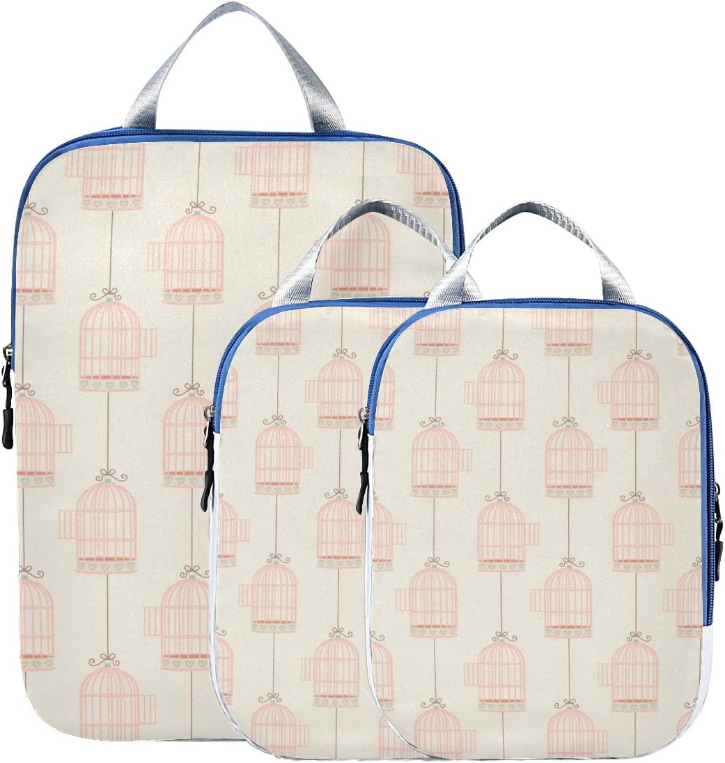 LUPINZ String Cages Pattern Travel Luggage Packing Organizers 3 Pieces Travel Cubes