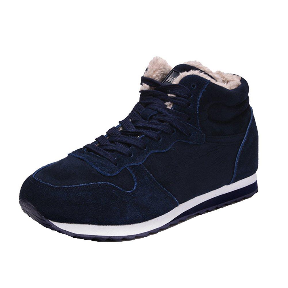 Juleya Winter Warm Schuhe Sneakers   Winter Schneestiefel Sportschuhe Laufschuhe High Top Turnschuhe Freizeit für Unisex Erwachsene Blau