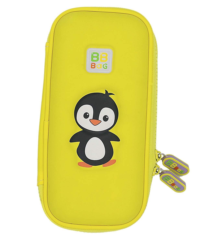 Hardtop Pencil Box Cute Penguin 3D Unique Design EVA Pencil Case with Larger Capacity for Students (Yellow)
