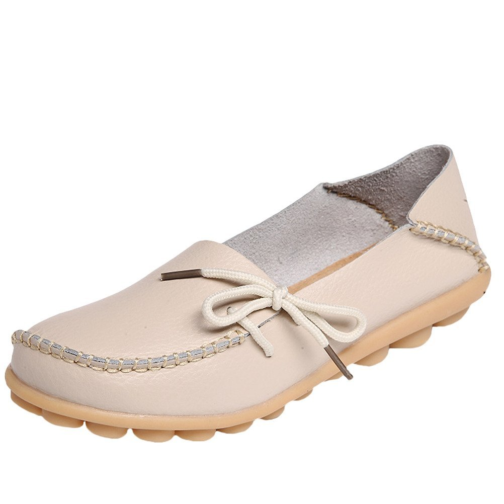 Mordenmiss Women's Casual Solid Color Moccasins Leather Loafer Shoes 41 Style 1-Sand