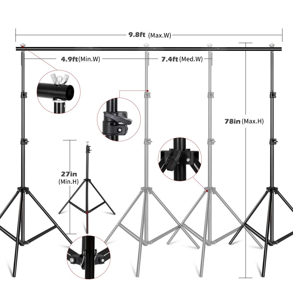 Kshioe Photography Lighting Kit, Umbrella Softbox Set Continuous Lighting with 6.5ftx9.8ft Background Stand Backdrop Support System for Photo Studio Product, Portrait and Video Shooting by Kshioe (Image #3)