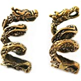LynnAround Bronze Norse Viking Dragon Beard Beads Rings, Dwarven Dreadlock Pirate Medieval Hair Beads, Pagan Jewelry