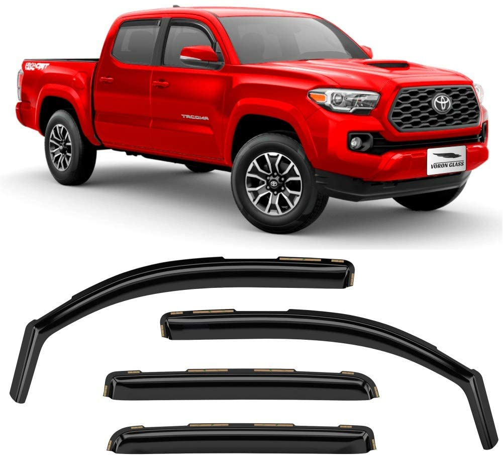 Vent Window Visors 220056 Voron Glass in-Channel Extra Durable Rain Guards for Trucks Toyota Tacoma 2016-2020 Double Cab 4 Pieces Window Deflectors