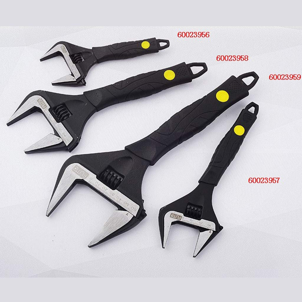 Negro 8 pulgadas Fenteer Soporte De Acero Gran Apertura Llave Ajustable Llave De Ba/ño Reparaci/ón De Fontaner/ía Mejoras Para El Hogar