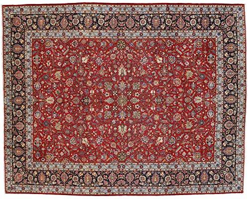 Kashan handmade area rug with burgundies and blues. Size: 10' 7 x 13' 6