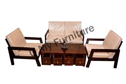 Mayur 2 1 1 Wooden Sofa Set With Center Table Amazon In Home Kitchen