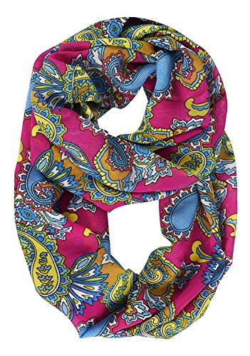Peach Couture Womens Scarf Tribal Scarf Paisley Scarf Floral Scarf Bohemian Sheer Circle Infinity Scarf Fuchsia Scarf (Cotton Knit Infinity Scarf)