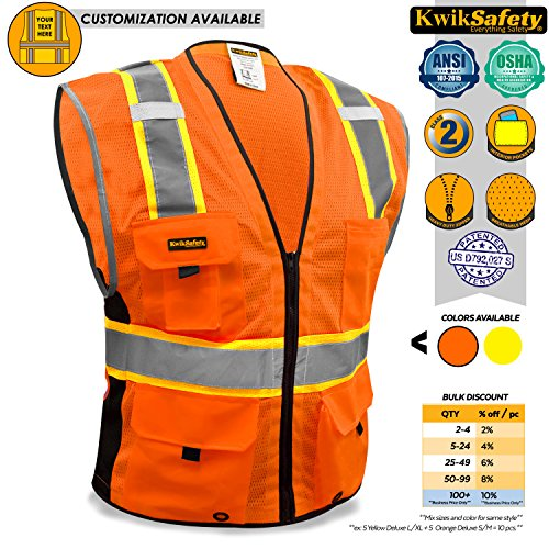 KwikSafety BIG KAHUNA | Class 2 Deluxe Safety Vest | 360° High Visibility Reflectivity ANSI Compliant Work Wear | Hi Vis 8 Pocket Breathable Mesh Men & Women Regular to Over Sized Fit | Orange S/M