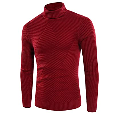 M/&S/&W Mens Autumn Solid High Neck Slim Knitted Pullover Jumper Sweaters Black L