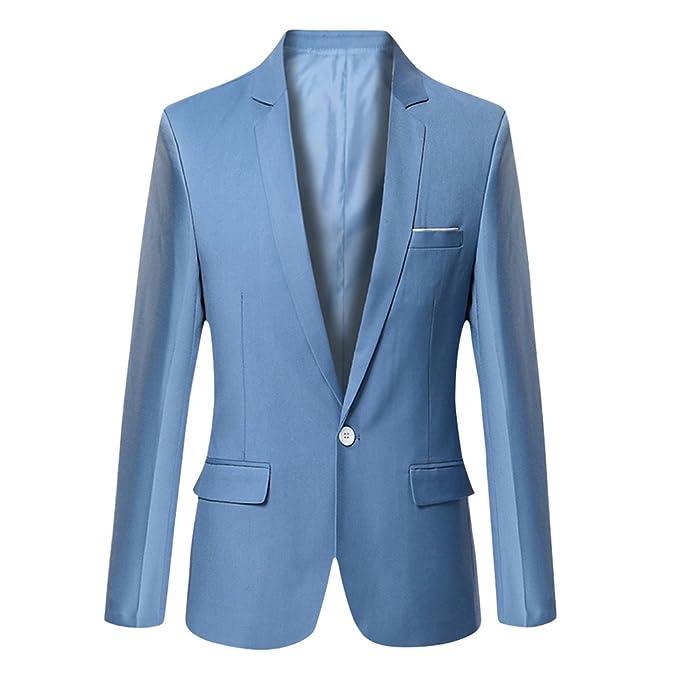 Vobaga Hombres Manga Larga Chaqueta Blazer Slim Fit Casual Abrigos XXL Azul Claro: Amazon.es: Ropa y accesorios