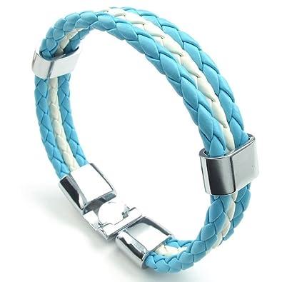 a7cd55efa80a AieniD Pulsera Argentina de Cuero Trenzada para Hombre y Mujer Brazalete  Acero Inoxidable de Cuerda