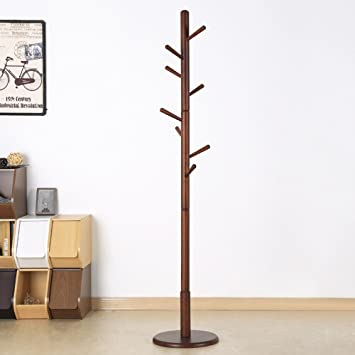 Amazon.com: Bai Su- Coat Rack Solid Wood Floor Coat Rack ...