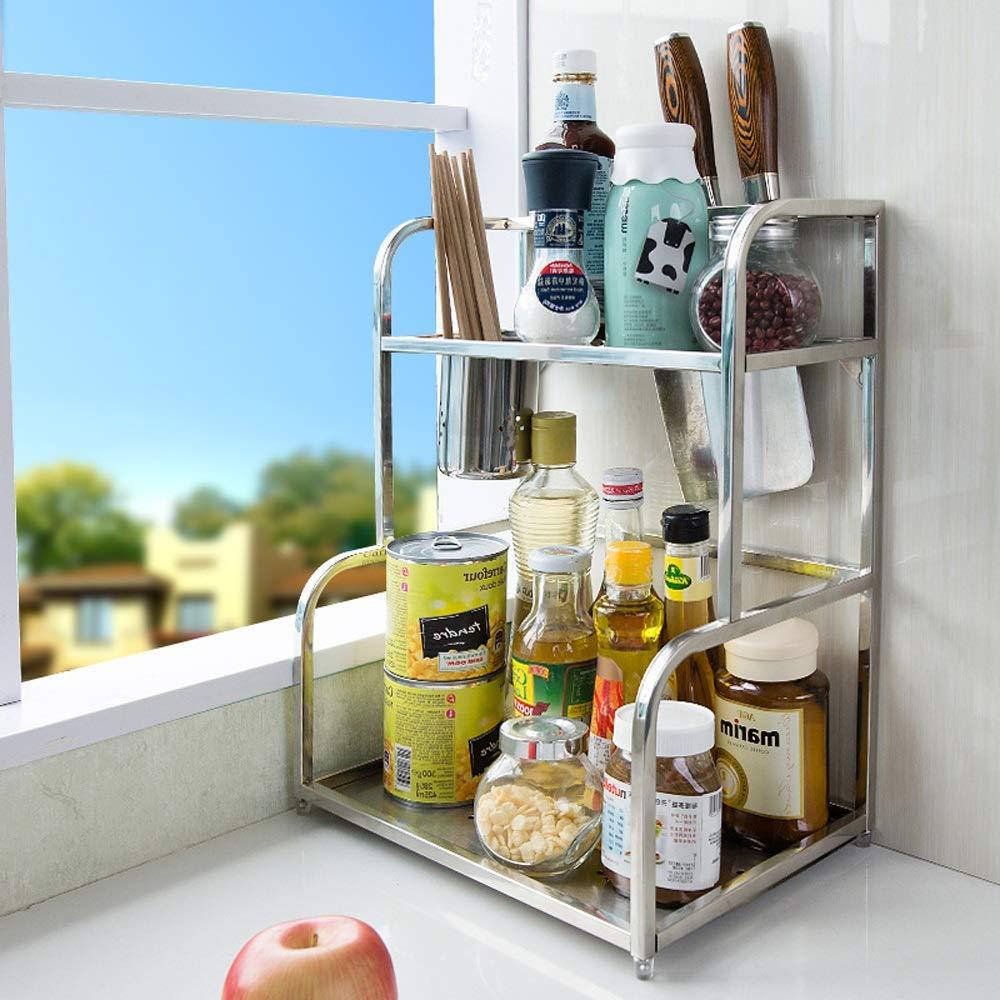Schönes Geschirr - Regal ChenDZ Werkzeughalter Gewürzregal Gewürzkasten Gewürzglas Lagerregal 3-Schicht Edelstahl Küche Rack Wand hängen Küche liefert Silber