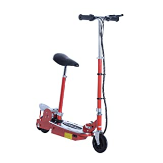 Qaba Adjustable Folding Electric Seated E-Scooter Battery Powered Motorized Bike Electric Scooter with Seat Red Aosom Canada