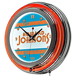 Howard Johnson Vintage Chrome Double Ring Neon Clock