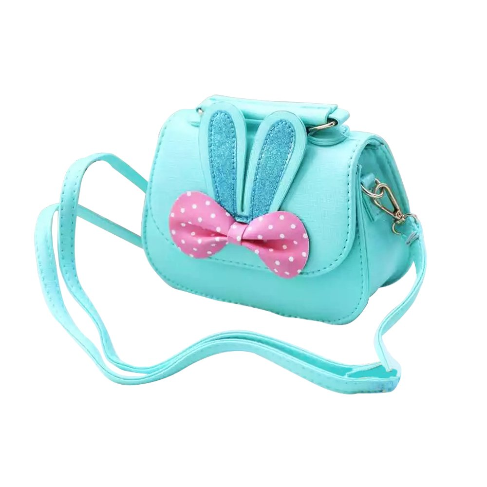 CC ONE Little Girls Crossbody Purse for Kids - Toddler PU Leather Mini Cute Handbags Shoulder Bag (Rabbit Bowknot Pink&Blue) by CC ONE