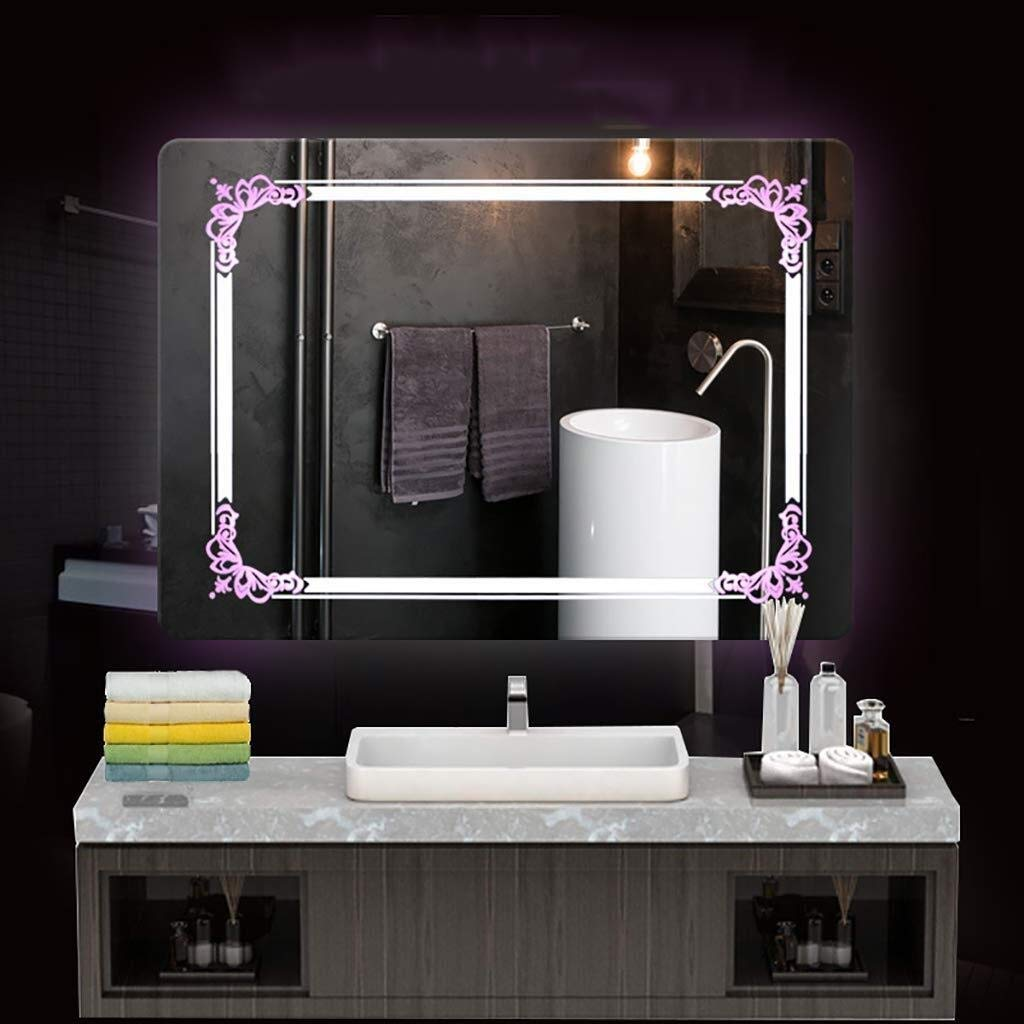 Beauty mirror LED Bathroom Mirror,Wall Illuminated Bathroom Mirror 5MM Waterproof Crystal Engraving Applique Mirror White Warm Light Rectangle Washroom Toilet Carving Pattern Makeup Mirror Dressing mi by Makeup Mirrors