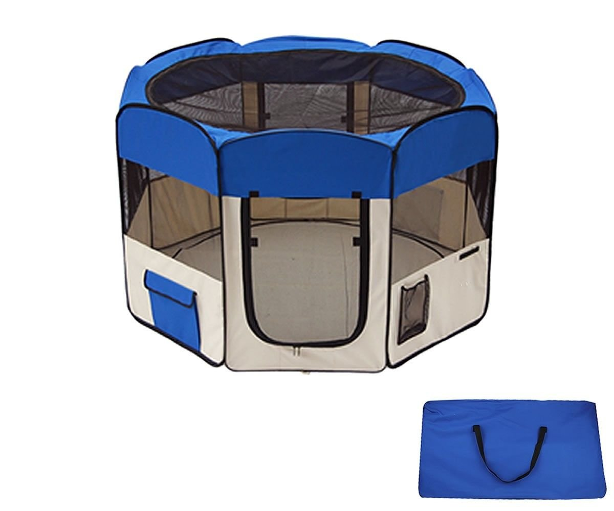 Eight24hours 45'' Dog Kennel Pet Fence Puppy Soft Playpen Exercise Pen Folding Crate Blue + FREE E-Book