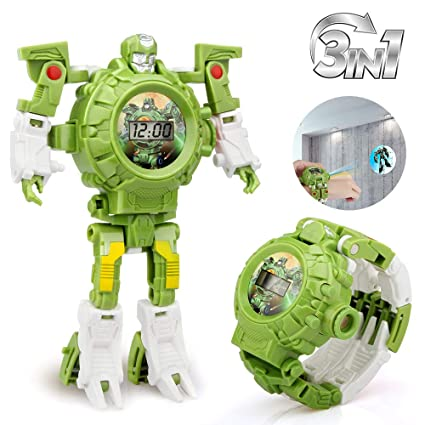 Baztoy Transform Toys Robot Watch 3 in 1 Projection Kids Digital Watch  Deformation Robot Toys for 3,4,5-10 Years Old Boys Girls Electronic  Learning