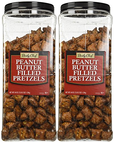 Daily Chef Peanut Butter Filled Pretzels - Set of 2 X 44oz Jars - Party/Family (Peanut Butter Pretzel)