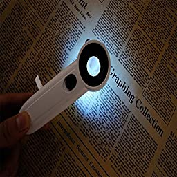 LED Lighted Slide out Illuminated Portable 40X Jewelers Loupe Magnifier - with LED Magnifying Eye Loop Stand