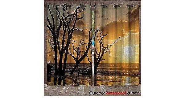 BlountDecor Driftwood - Cortina con Ojales en la Parte Superior, diseño de árboles Muertos en el mar Ondulado Durante el Tiempo de crepúsculo, Imagen Digital W108 x L96 Azul y Rosa: Amazon.es: