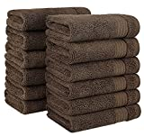 2018 (New Collection) Luxurious Soft Hotel & Spa Quality 13'x13' Wash Cloth Set of 12 100% Cotton and Eco-Friendly (Dark Brown Washcloths for Bath)